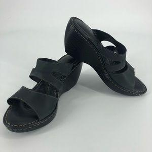 Born dark gray open toe wedges